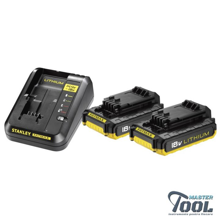 KIT incarcator + 2 baterii 2.0 Ah Stanley Fatmax FMC693D2